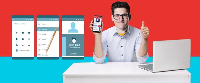 Vistas de aplicaciones móviles sobre 3 pantallas ampliadas de celular