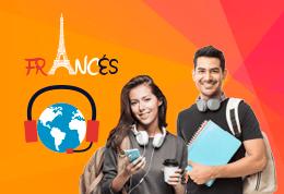 Pareja de Estudiantes de idioma Francés sonriendo