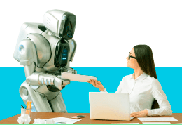 Joven ejecutiva entregando documentos de trabajo a un robot